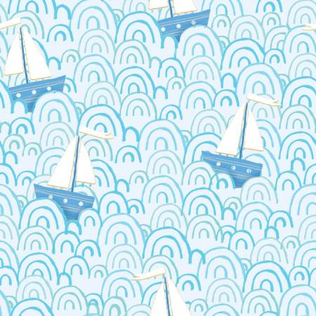 {New Arrival} 3 Wishes Itty Bitty's FLANNEL Blue Tossed Sailboats