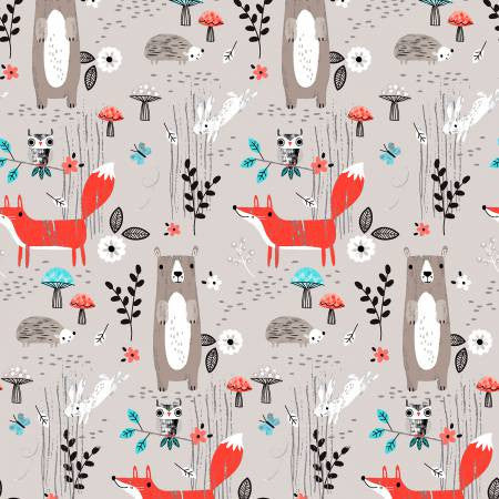 Fabric Editions Forest Buddies Light Grey Forest