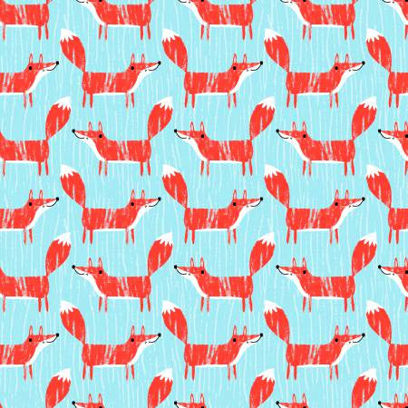 Fabric Editions Forest Buddies Turquoise Fox