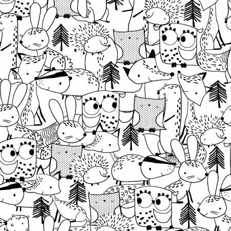 Fabric Editions Just Friends Black Sketchy Animals