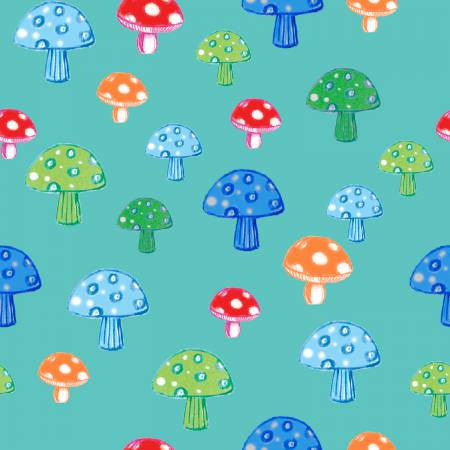 Fabric Editions Colour Me Fun Turquoise Mushroom