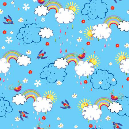 Fabric Editions Colour Me Fun Pink Clouds Rainbow