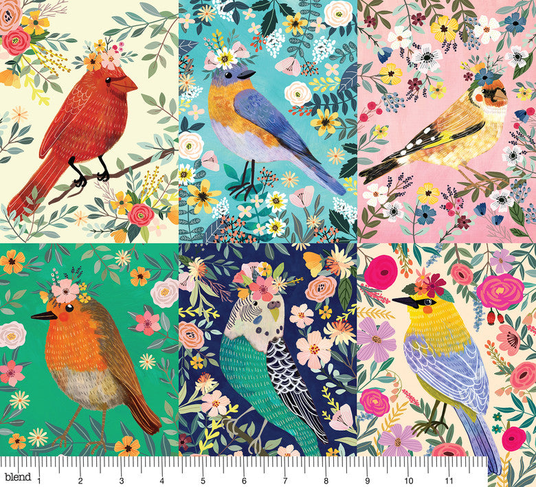 {Restocked March} Blend Fabrics Mia Charro Birdie Collection Birdie Panel Multi