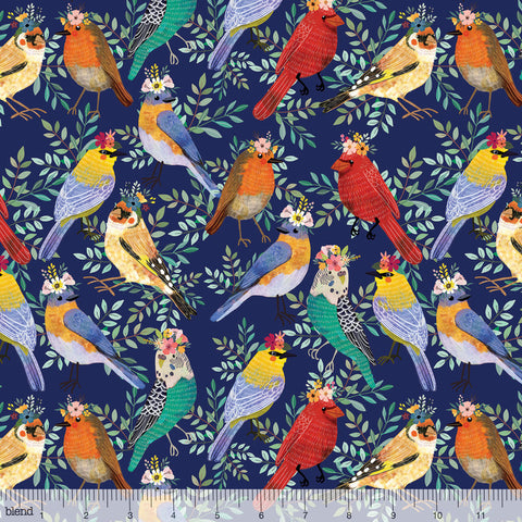 Blend Fabrics Mia Charro Birdie Collection Bird Meet Navy