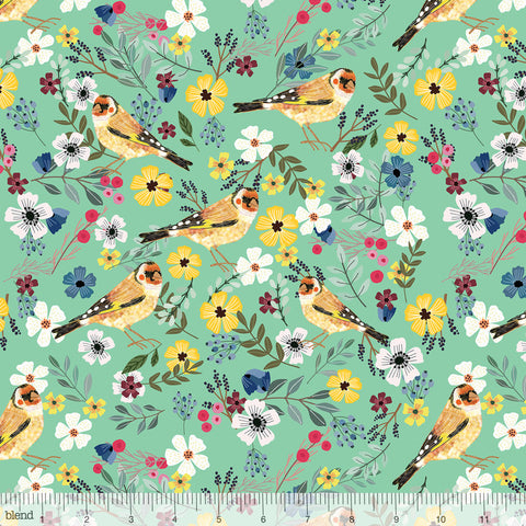 Blend Fabrics Mia Charro Birdie Collection Goldfinch Seafoam