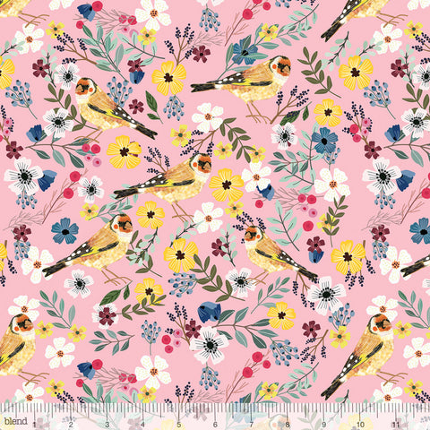 Blend Fabrics Mia Charro Birdie Collection Goldfinch Pink