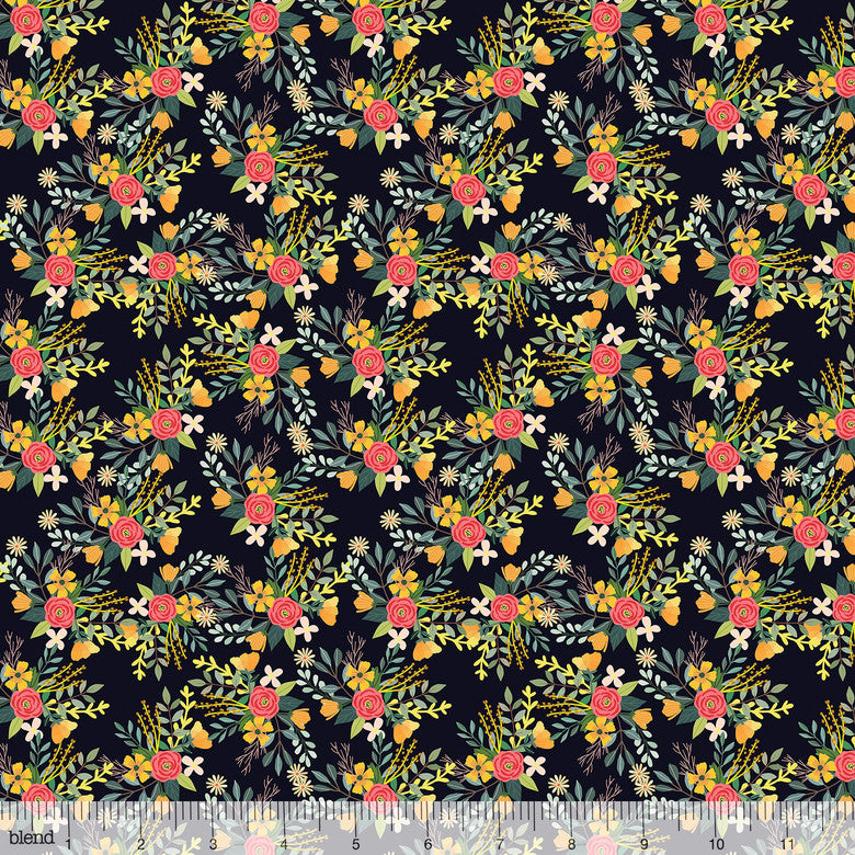 Blend Fabrics Mia Charro Birdie Collection Amore Charcoal