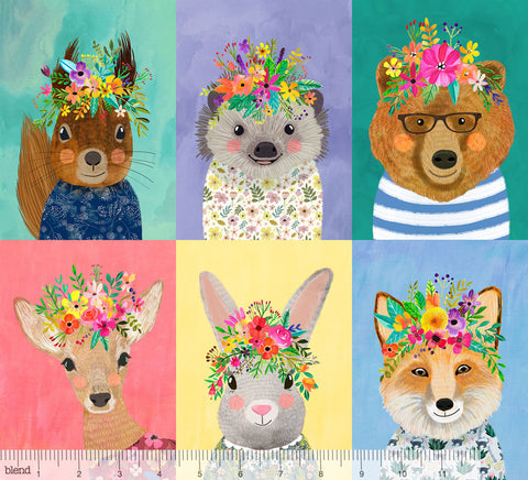 {New Arrival} Blend Fabrics Mia Charro Forest Friends Panel Multi