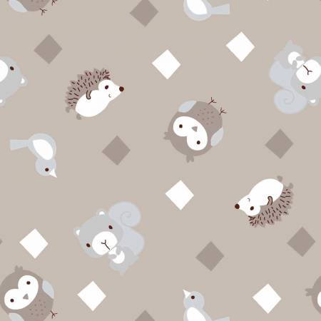 3 Wishes Little Forest Taupe Animals with Diamonds