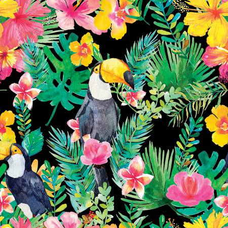 3 Wishes Tropicale Digital Black Bird & Floral