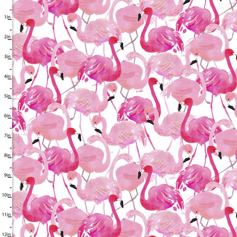 3 Wishes Tropicale Digital White Flamingo