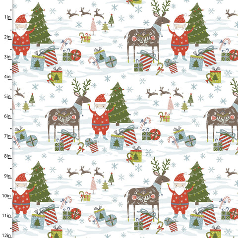 Fabric Editions Happy Holidays Santa & Reindeer White