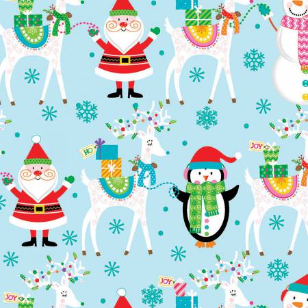 Fabric Editions Santa & Friends Allover Blue