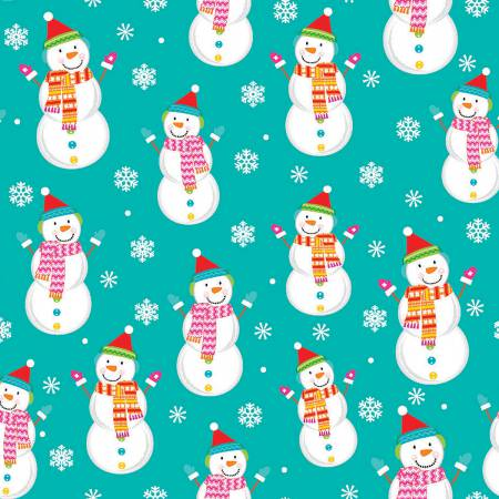 Fabric Editions Santa & Friends Snowman Turquoise