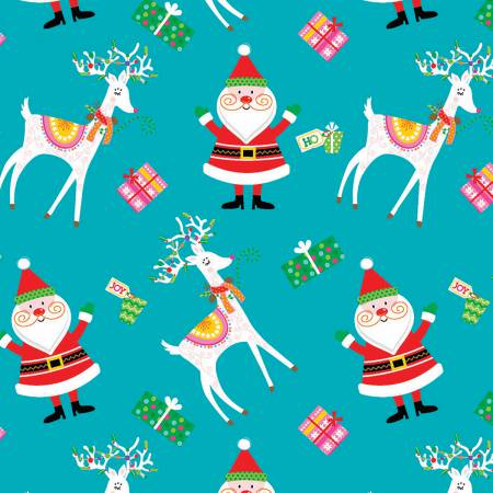 Fabric Editions Santa & Friends Santa & Reindeer Aqua