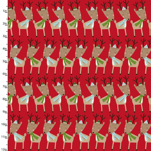 Fabric Editions Merry Woods Reindeer Red