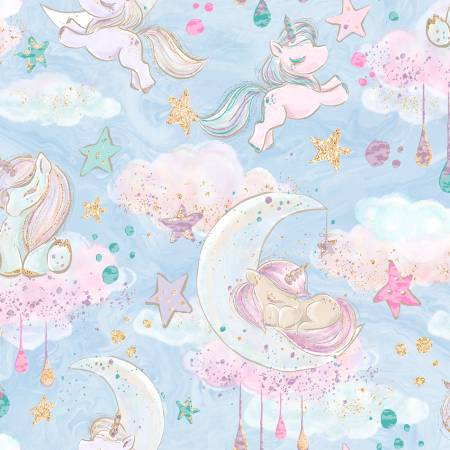 3 Wishes Unicorn Sparkle Blue Unicorn Clouds w/Glitter