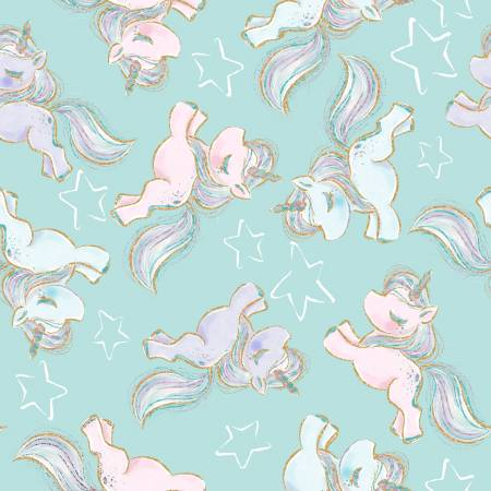 3 Wishes Unicorn Sparkle Turquoise Prancing Unicorns w/Glitter