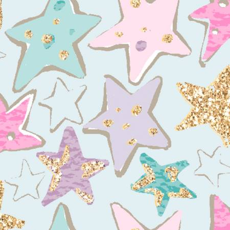 3 Wishes Unicorn Sparkle Turquoise Stars w/Glitter