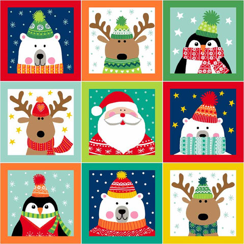 Makower Christmas Novelty Squares Multi