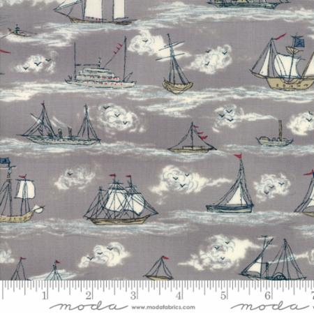 Moda Ahoy Me Hearties Busy Seas Grey