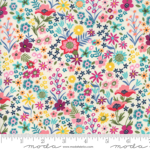 Moda Rosa Floral Flower Patch White