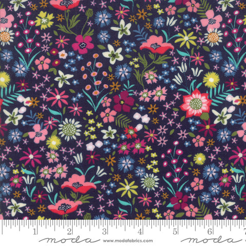 Moda Rosa Floral Flower Patch Navy