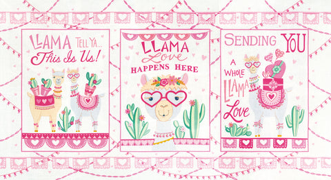 Moda Llama Love Panel Snowy White