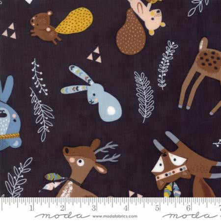 Moda Abi Hall Wild & Free Woodland Critters Midnight