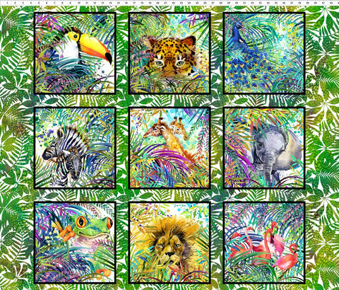 In The Beginning Fabrics Safari Jungle Panel Digital 90cm x 112cm