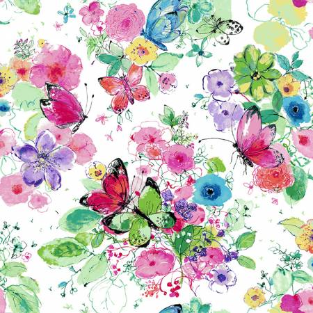 {New Arrival} RJR Bloom Bloom Butterfly Meadowland - Carnation Fabric