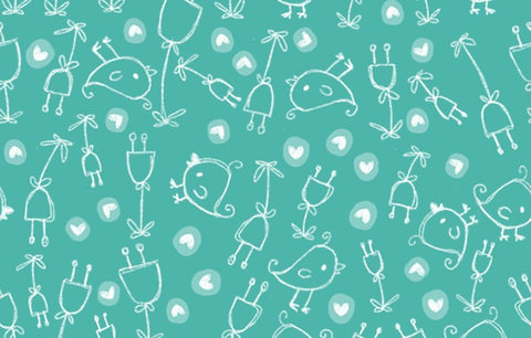 Bambini Brights Birds in Teal