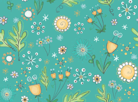 Bambini Brights Floral in Teal