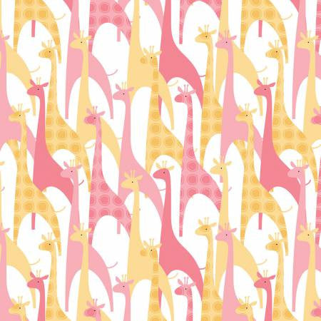 Camelot 100% Cotton Flannel Giraffes Pink/Yellow