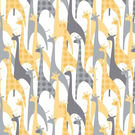 Camelot 100% Cotton Flannel Giraffes Grey/Yellow