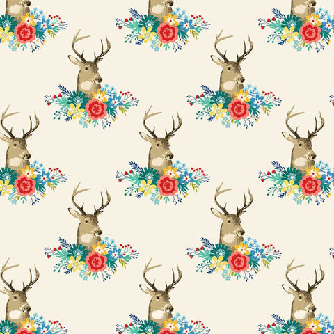 Northcott Studios Chloe Stag Heads Cream