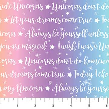 Northcott Unicorn Magic Text Magic