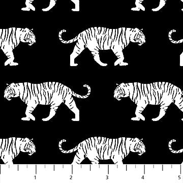 Northcott Tiger Tales Tigers Black & White