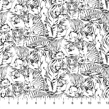 Northcott Tiger Tales Tiger Toile White