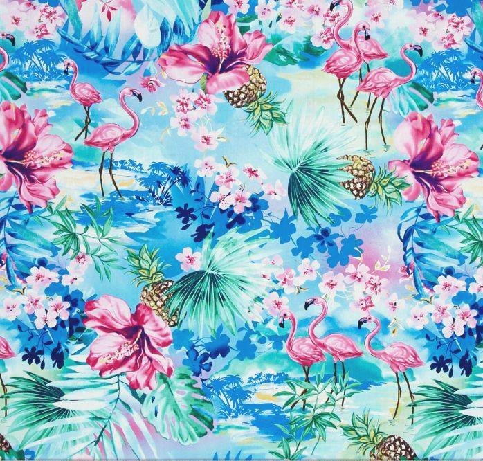 Timeless Treasures Oasis Ocean Pineapple, Flamingo & Hibiscus