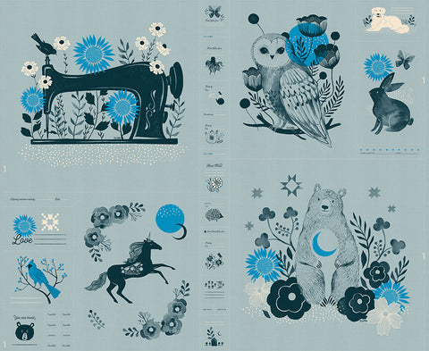 Moda Ruby Star Society Sarah Watts Crescent Panel Novelty Forest Panel Soft Blue