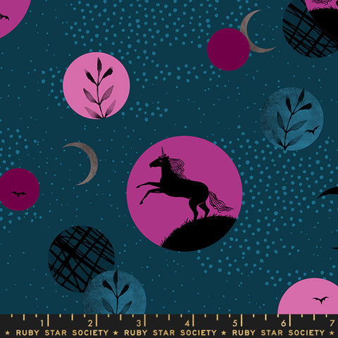 Moda Ruby Star Society Sarah Watts Crescent Novelty Unicorn Moon Dark Teal
