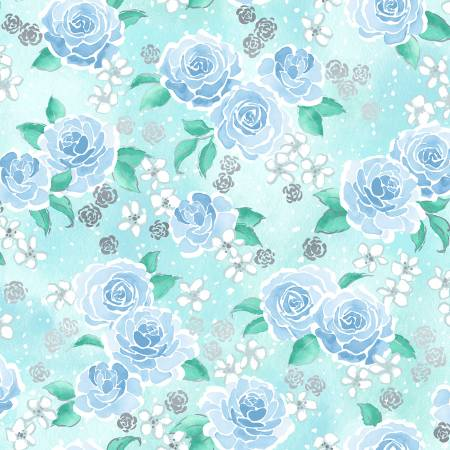 RJR Enchanted Lake Floating Floral Aqua Metallic