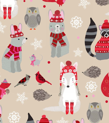Studio E Designs Snow Delightful Woodland Animals Red