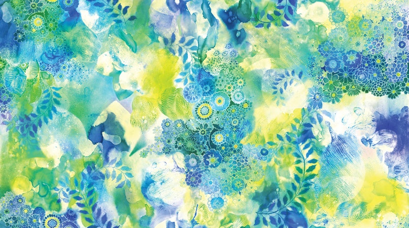 Moda Gradients II Splash Watercolor Garden Turquoise