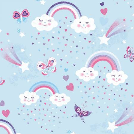 Studio E Designs Unicorn Kisses Light Aqua Rainbow & Clouds