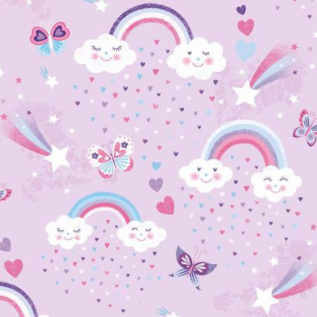 Studio E Designs Unicorn Kisses Lilac Rainbow & Clouds