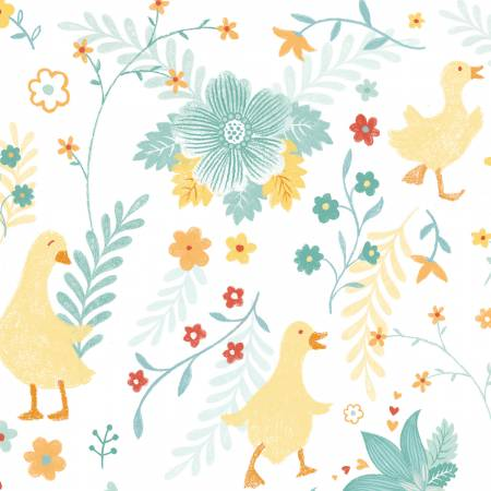 Studio E Ducky Tales White/Light Jade Ducks & Flowers