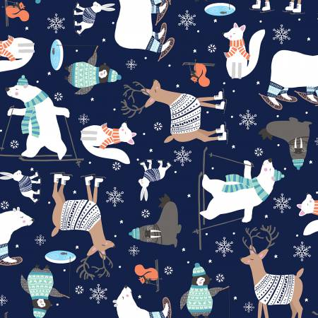 Studio E Snow Happy Navy Animals