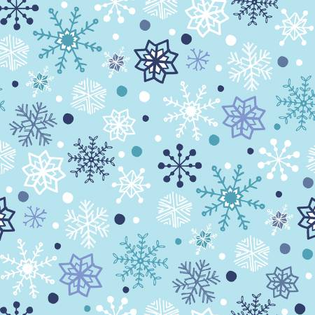 Studio E Snow Happy Light Blue Snowflakes